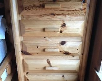 close up of the log chest of drawer