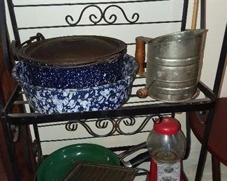 Blue & White Enamelware (BAKER'S RACK NOT AVAILABLE)