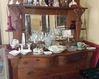 Antique Dining Room Sideboard W/ Assorted China & Glassware