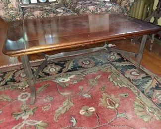 Wood Top & Iron Base Coffee Table
