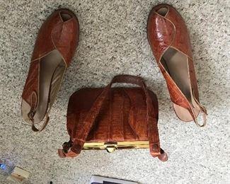vintage brown alligator purse and heels