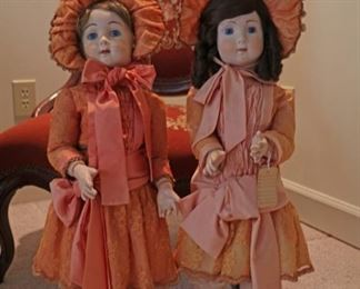 """Porcelain dolls with jointed appendages.  Excellent condition. 25"""" tall     $100 each"""