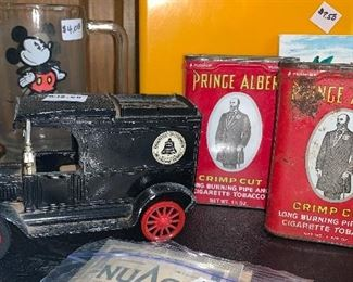Metal car & tobacco tins