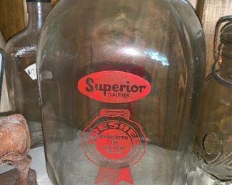 Vintage milk jug & jars