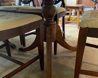 Duncan Phyfe dining table leg view
