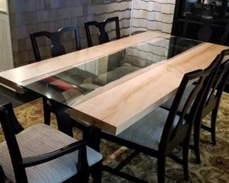 Custom Colorado River wood and glass dining table. Much nicer than shown in pics. Really spectacular! Very nice Ethan Allen chairs, hand tied 8x10 wool rug