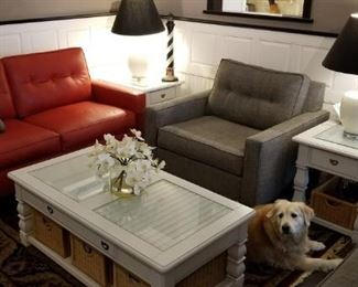 Custom Ethan Allen red leather loveseat, 2 gray tweedd chairs, solid wood white end tables and coffee table, Cape Hatteras light up light house. Sorry, Bailey the dog is not for sale!