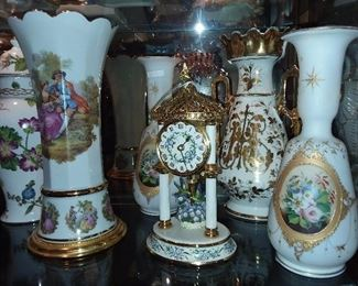 House of Faberge Clock (SUPER RARE!) & Assorted Vases