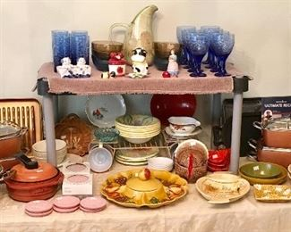 LOTS OF KITCHEN POTS, PANS, AND SERVING WARE. SOME PIECES STILL UNUSED.
