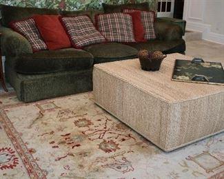 Kravet sofa, Henredon Rattan/grasscloth table, contemporary rug