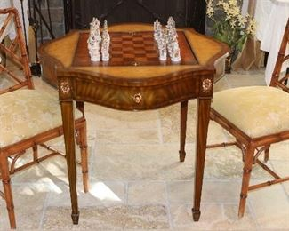 Maitland Smith chess table & chairs