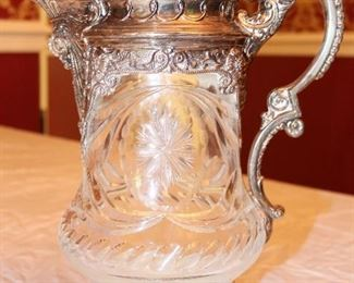 Magnificent cut glass and sterling silver tankard