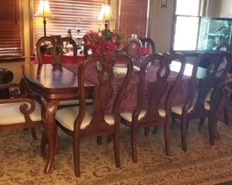 Mahogany Banquet Size Dining Room Suit with 8 Chairs and 2 Leaves!
