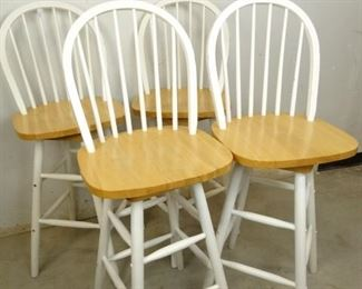 White Natural Wood Bar Stool Set