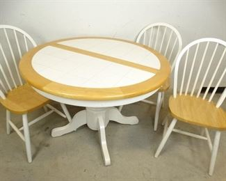 White Tile Leaf Table w 3 Kitchen Chairs