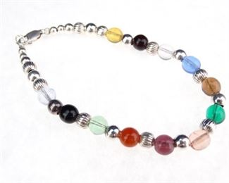 Silver Glass Bead Bracelet