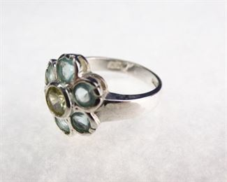 Silver Colored Stone Flower Ring, Size 8