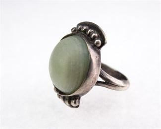 Silver Ring w Green Milk Stone