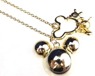 GoldColored Mickey Mouse Orb Pendant Necklace