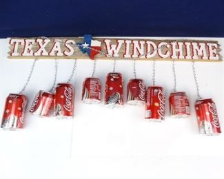 Wooden Texas Windchime Sign with Coca Cola Cans