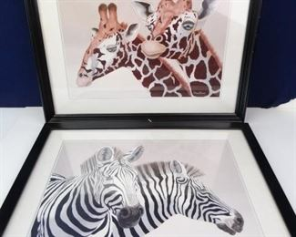 African Safari Animal Signed Art in Black Frames