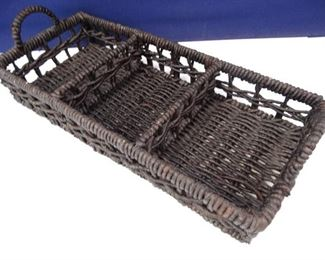 ChocolateColored Wicker Organizer Basket