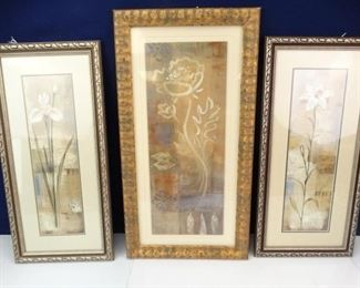 Trio of Tall Paintings Depicting White Lily Flowers