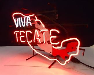 Neon Light Sign Viva Tecate in Mexico Country Design