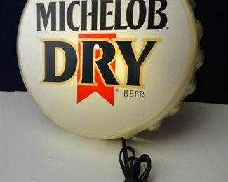 Vintage Michelob Dry Large, Electronic Bottle Cap Sign