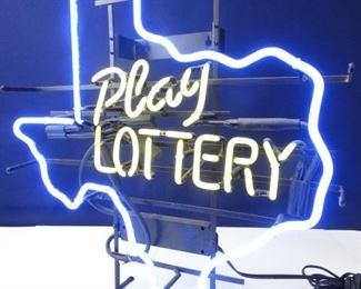 Neon Light Sign Play Lottery in a Texas State Design