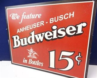 Vintage Styled Metal Budweiser Advertisement Sign