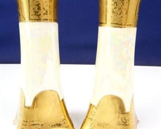 Heinrich Co. Bavarian 22K Gold Foil Flower Vases
