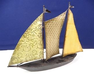 Iron Sailing Ship Statuette