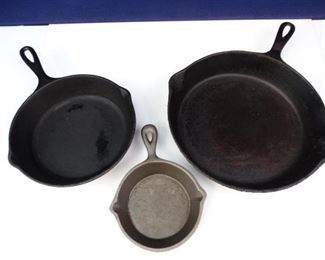 Spouted Cast Iron Skillets of Various Sizes (3)