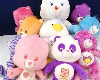 Large, Assorted, Colorful Care Bear Dolls (10)