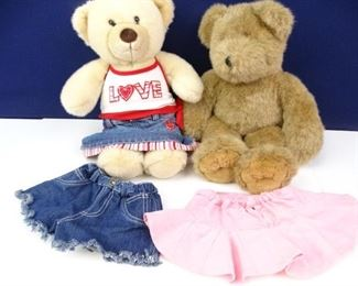 Stuffed Bear Doll Duo with Clothing Accessories (2)