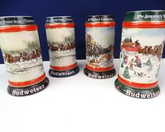 Set of 1991 Budweiser Christmas Beer Steins
