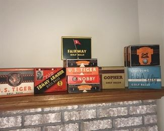 Vintage golf ball boxes