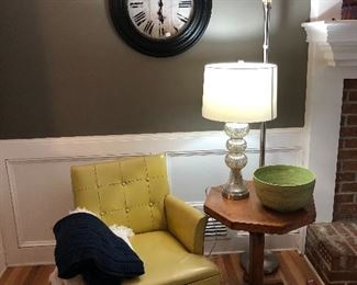 Clock, 50's retro chair, wood table, 2 lamps, blankets, (and rug)