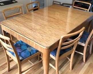 6 birds-eye maple chairs and table.