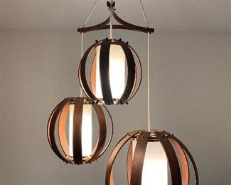 Amazing Scandinavian bent walnut three orb chandelier