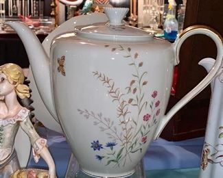 Tea or Coffee Pot--This set of china is rare- each piece is handmade so you will get the slightest difference in thickness, etc.  Schirnding manufacturer