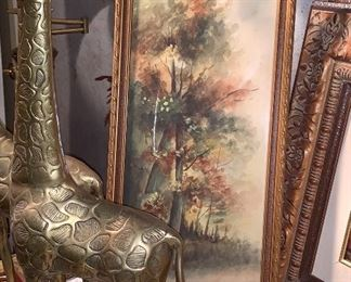 Tall Brass Giraffes, Hand-painted, signed landscape-water color