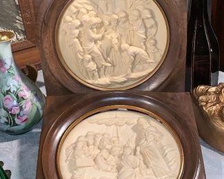 Pair of religious plates, framed