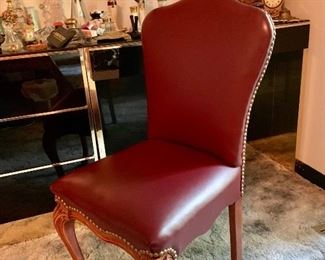 Vanity chair sold separately Leather with brass brad  trim