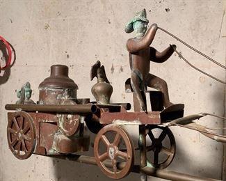 Antique Copper Weather Vane-Fireman theme: SOLD
