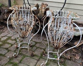 Pair wrought iron planters