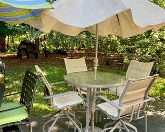 Another set of Bar-  high patio set and umbrella and stand