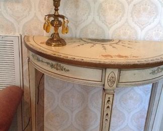 Demilune Italian hand-painted hall table. Some damage on top