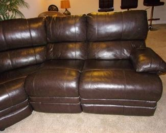 """""""Faux"""" Leather/Pleather sectional with dual recliner(back of center slight flaw)"""
